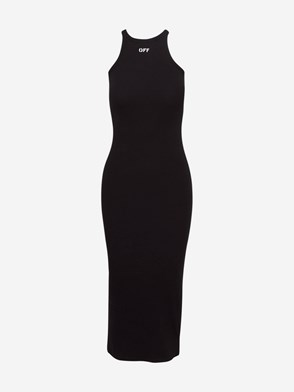 OFF WHITE - VESTITO  BASIC RIBBED NERO