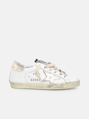 GOLDEN GOOSE DELUXE BRAND - WHITE AND GOLD STELLA SNEAKERS