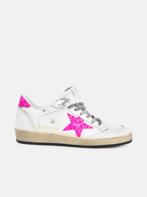 GOLDEN GOOSE DELUXE BRAND - WHITE AND HOT PINK STELLA SNEAKERS