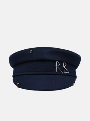 RUSLAN BAGINSKIY - BLUE COTTON AND ACRYLIC BAKER BOY HAT