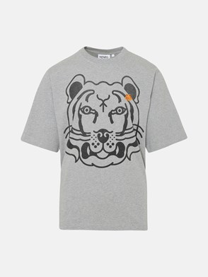 KENZO - T-SHIRT TIGER CREST IN COTONE GRIGIA