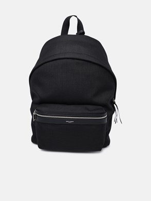 SAINT LAURENT - BLACK LEATHER AND NYLON CANVAS CITY BACKPACK