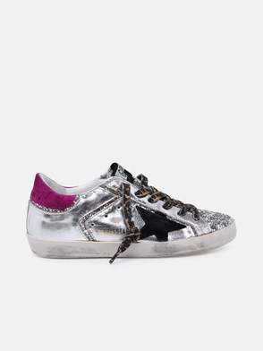 GOLDEN GOOSE DELUXE BRAND - SNEAKERS SUPER STAR ARGENTO TALLONE FUCSIA IN PELLE