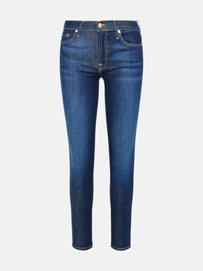 7 FOR ALL MANKIND - JEANS THE SKINNY CROP IN COTONE BLU