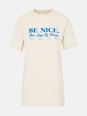 SPORTY & RICH - T-SHIRT BE NICE IN COTONE LATTE