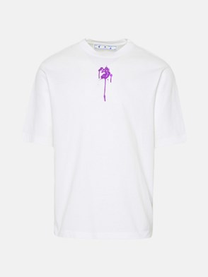 OFF-WHITE - T-SHIRT DRIPPED OW LOGO IN COTONE BIANCA