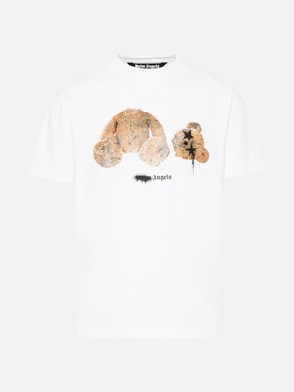 PALM ANGELS - T-SHIRT SPRAY PA BEAR CLASSIC IN COTONE BIANCA