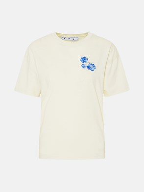 OFF-WHITE - T-SHIRT EMBR FLORAL ARROW IN COTONE BIANCA